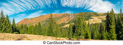 mountain ridge under the gorgeous sky with clouds - panorama...