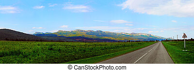 Panorama of a mountain road
