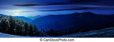 panorama of a mountainous landscape at night in full moon...