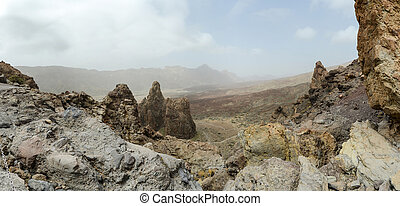 panorama of a rock formation in the mountain landscape teide nat