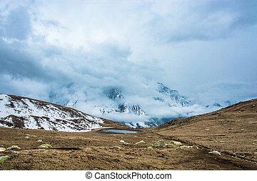 Panorama of a small mountain lake, Nepal. - Panorama with a...