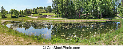 Panorama of a small rural pond with still water. The water ...