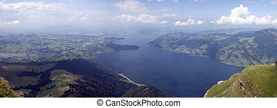 panorama of a swiss lake in the summer