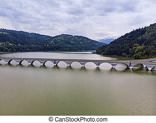 Panorama of a viaduct and river