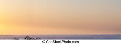 panorama of a winter sunset