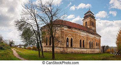 abandoned catholic church on hill