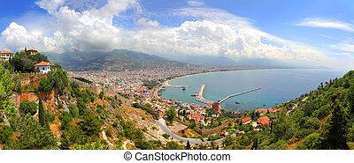 panorama of Alanya Turkey from fortress - panorama of Alanya...