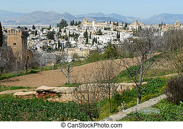 Albaicin seen from the Alhambra in Granada, Andalusia, Spain...