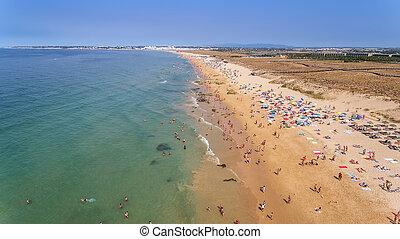 Panorama of Albufeira aerial in Algarve region, Portugal, Europe, Gale
