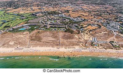 Panorama of Albufeira aerial in Algarve region, Portugal, Gale beach