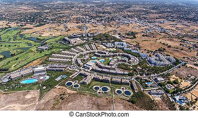 Panorama of Albufeira aerial in Algarve region, Portugal, Salgados hotel