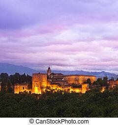 Panorama of Alhambra, Granada, Spain - Evening panoramic...
