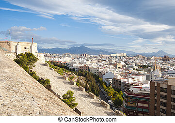 Panorama of Alicante city with mountains