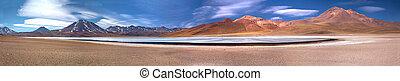 panorama of altiplanic lagoon Miscanti and volcanoes