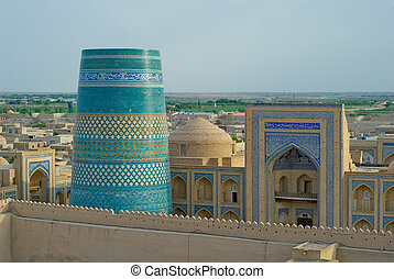 Panorama of an ancient city of Khiva, Uzbekistan