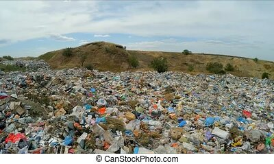 panorama of an unauthorized landfill. Slow motion. -...