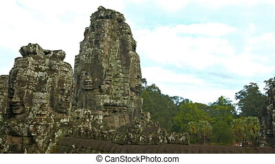 Panorama of ancient Cambodian temple. Bayon temple ruins.