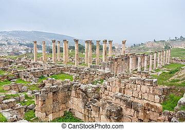 panorama of ancient city Gerasa and modern Jerash