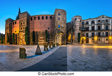 Panorama of Ancient Roman Gate and Placa Nova in the Morning...
