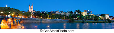 Panorama of Angers at night