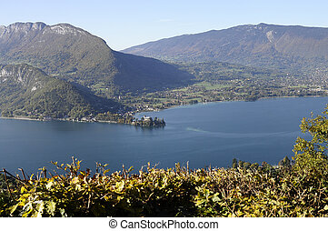 Panorama of Annecy lake, France