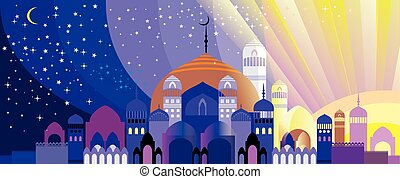 Panorama of Arabian city - Panorama of silhouette of...