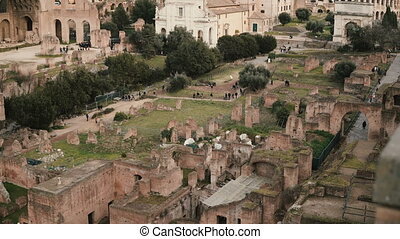 Panorama of Arch of Septimius Severus and the House of Vestals are located in the centre of the scenic view.