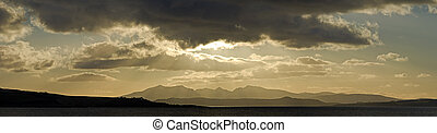 Panorama of Arran in Scotland UK - The mountains of the...