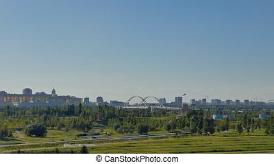 Panorama of Astana. Presidential Park and Palace Akorda...