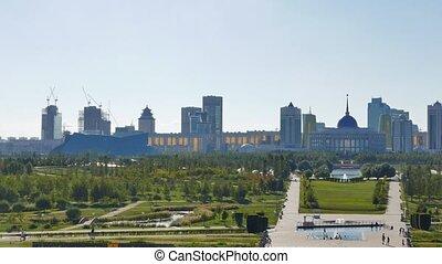 Panorama of Astana. Presidential Park and Palace Akorda...