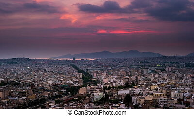 Panorama of Athens at sunset. Beautiful cityscape with...