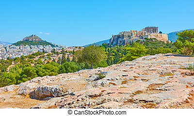 Panorama of Athens city with Lycabettus and Acropolis hills