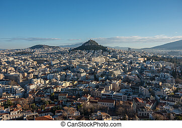 Panorama of Athens city with Lycabettus hill from Acropolis hill, Athens, Greece
