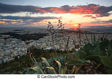 Panorama of Athens, Greece.