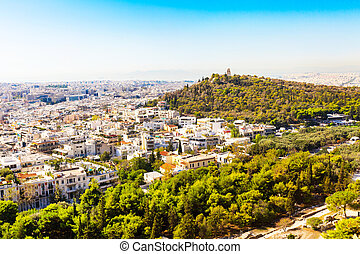 Panorama of Athens, Greece with houses and hills