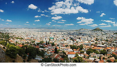 Panorama of Athens megalopolis from Acropolis hill, Greece