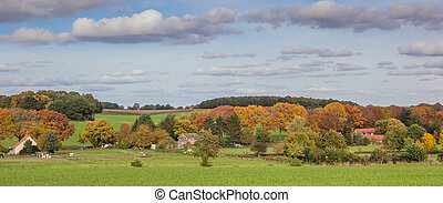 Panorama of autumn colors in Groesbeek