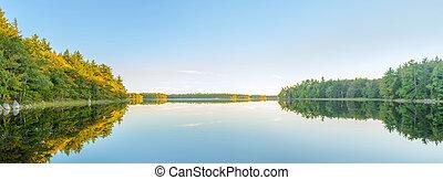 Panorama of autumn lake just before sunset - Panorama of ...