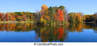 Panorama of autumn reflections