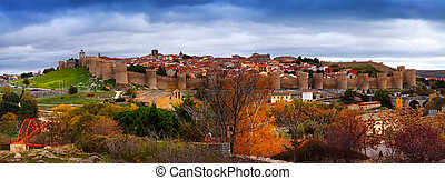 Panorama of Avila in autumn
