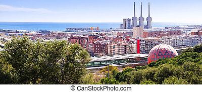 Panorama of Badalona and Sant Adria de Besos. Barcelona,...