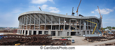 Panorama of Baltic arena stadium construction site, Gdansk Poland.