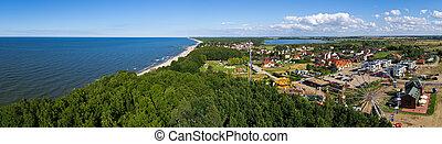 Panorama of baltics shore in Niechorze, Poland