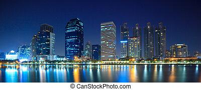 Panorama of Bangkok downtown city at night Bangkok,Thailand