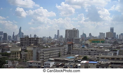 Panorama of Bangkok downtown, Thailand. View from Golden...
