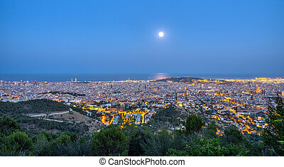Panorama of Barcelona at night