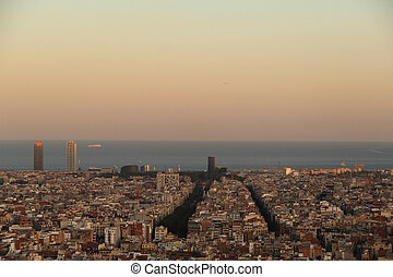 panorama of Barcelona city from Par