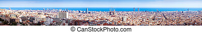 Panorama of Barcelona in sunny day