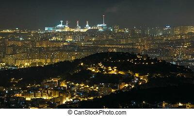 Panorama of Barcelona night timelapse from Mount Tibidabo. Catalonia, Spain.