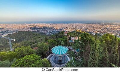 Panorama of Barcelona timelapse from Mount Tibidabo. Catalonia, Spain.